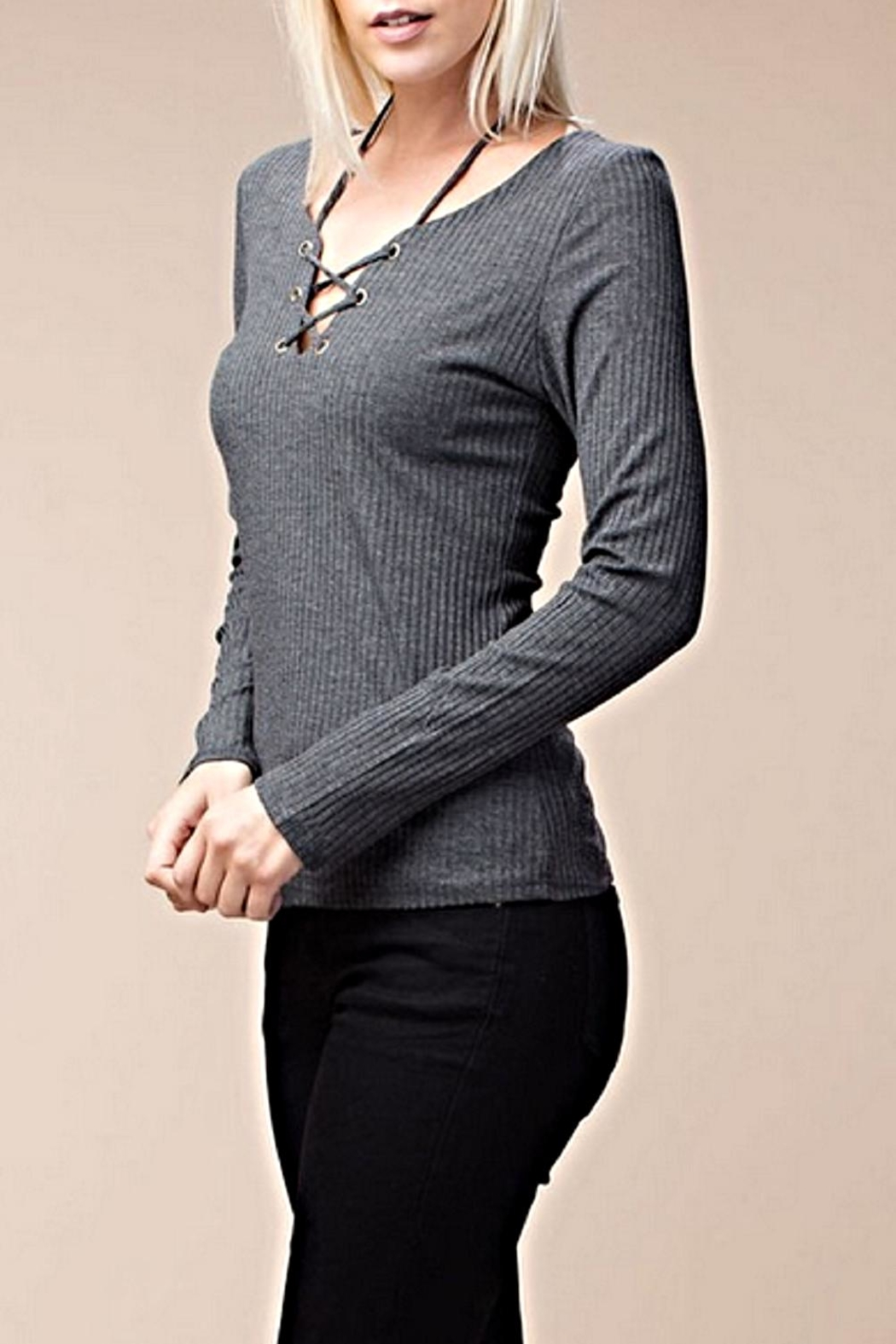 ee:some Stretch Ribbed Top - Front Full Image