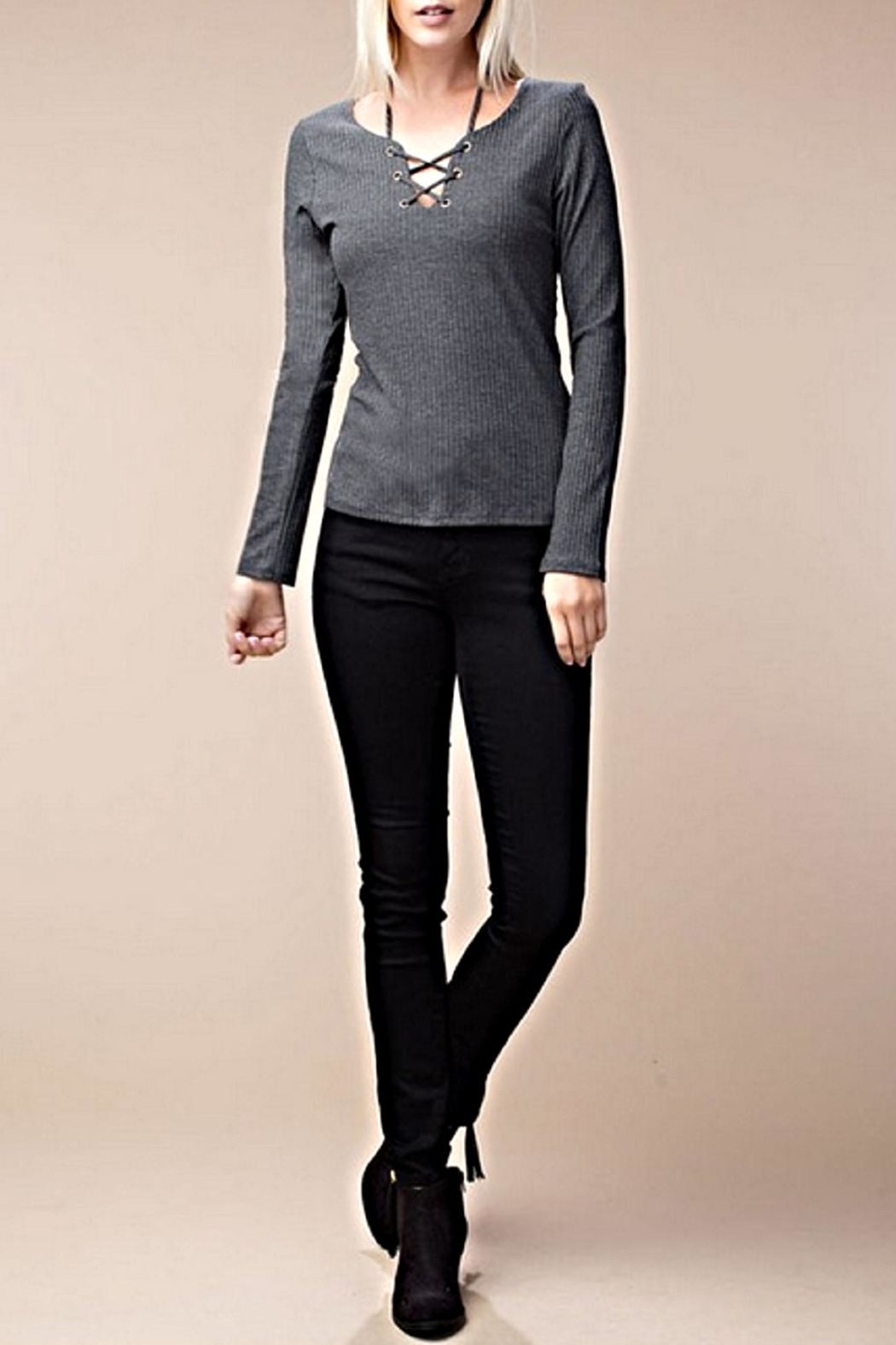 ee:some Stretch Ribbed Top - Main Image