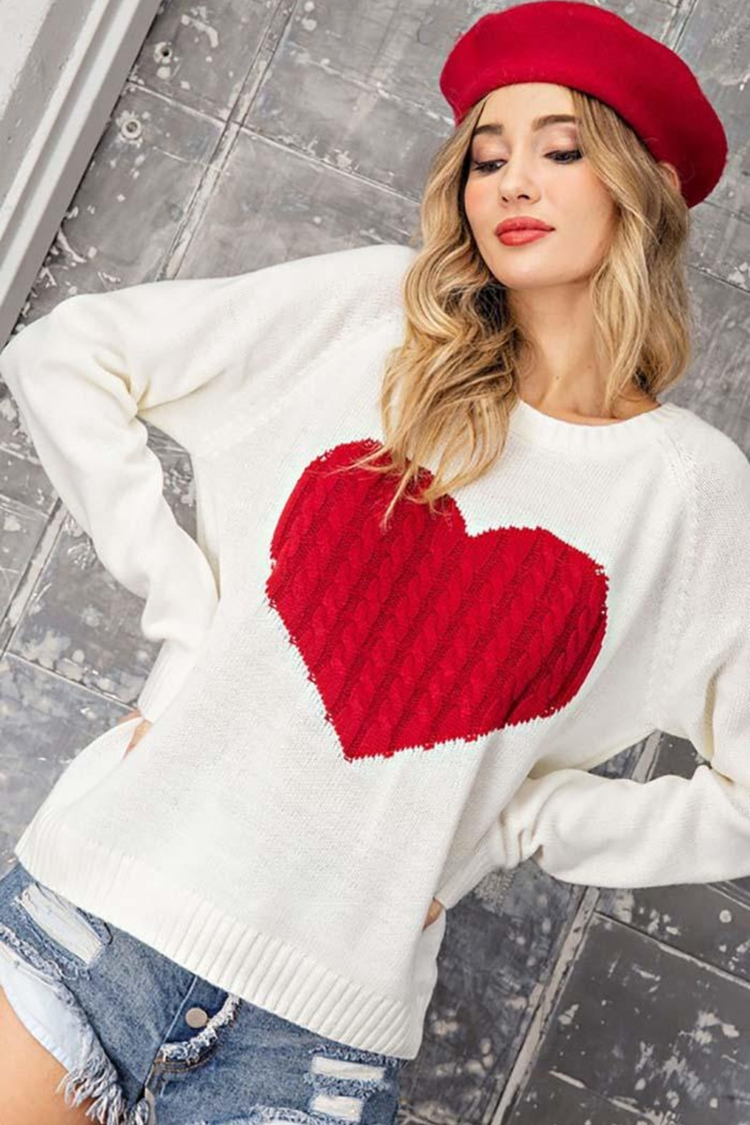 ee:some Sweater With a Ribbed Knit Heart Detail - Side Cropped Image