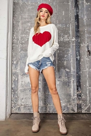 ee:some Sweater With a Ribbed Knit Heart Detail - Front full body