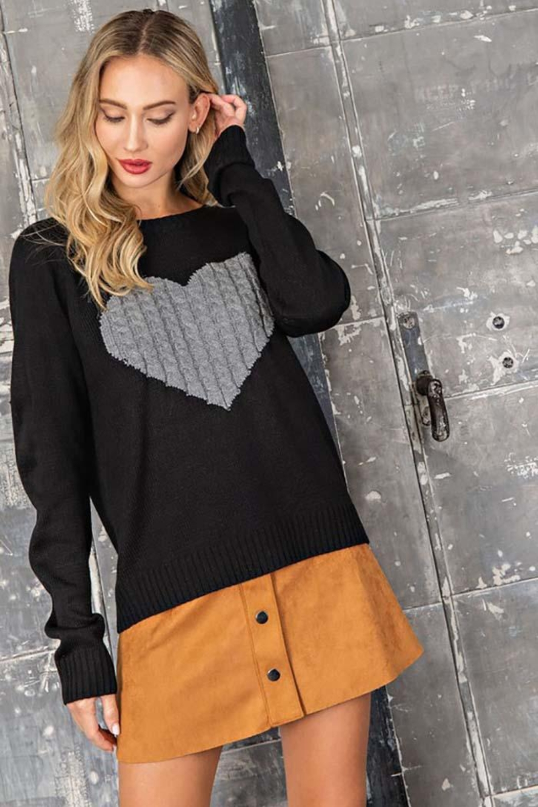 ee:some Sweater With a Ribbed Knit Heart Detail - Back Cropped Image