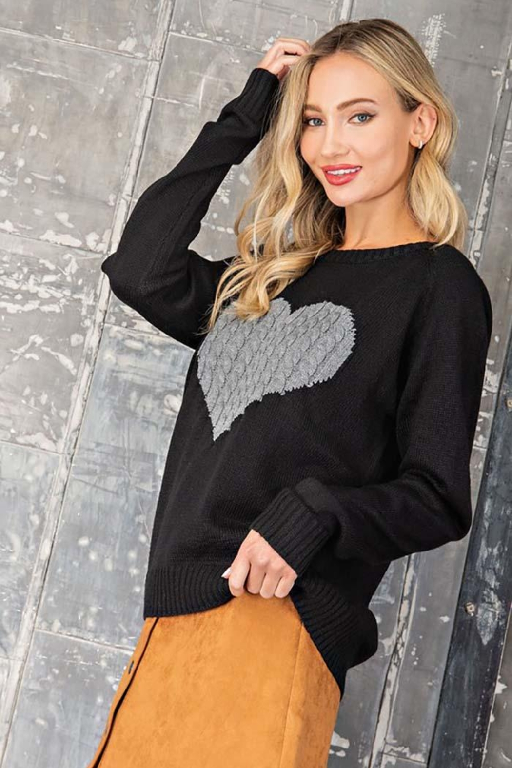 ee:some Sweater With a Ribbed Knit Heart Detail - Main Image