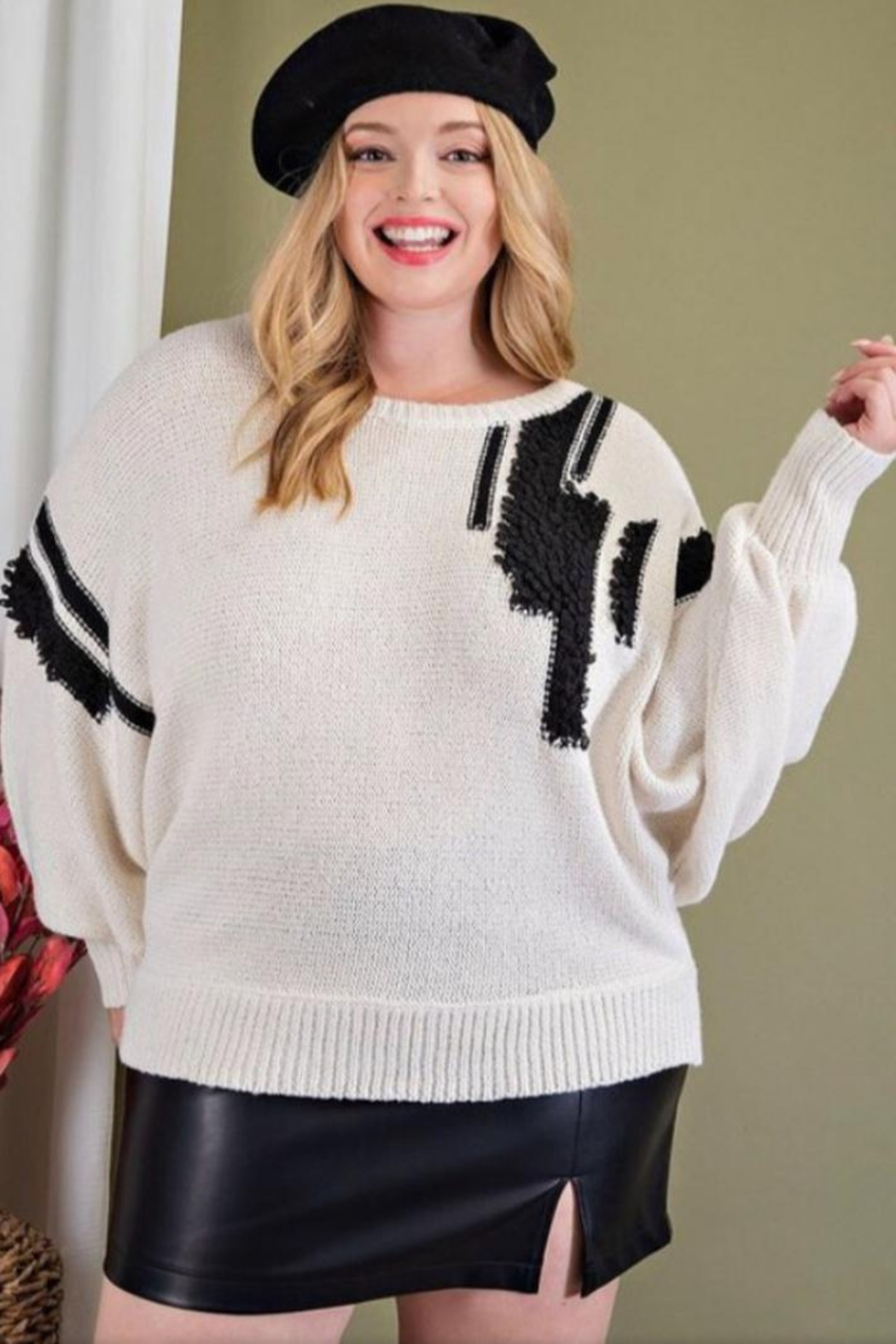ee:some Textured Plus Sweater - Front Full Image