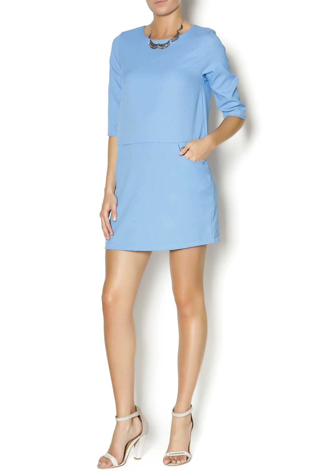 Everly Blue Shirt Dress - Front Full Image