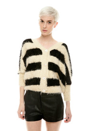 Shoptiques Product: Fuzzy Stripe Sweater - Front cropped