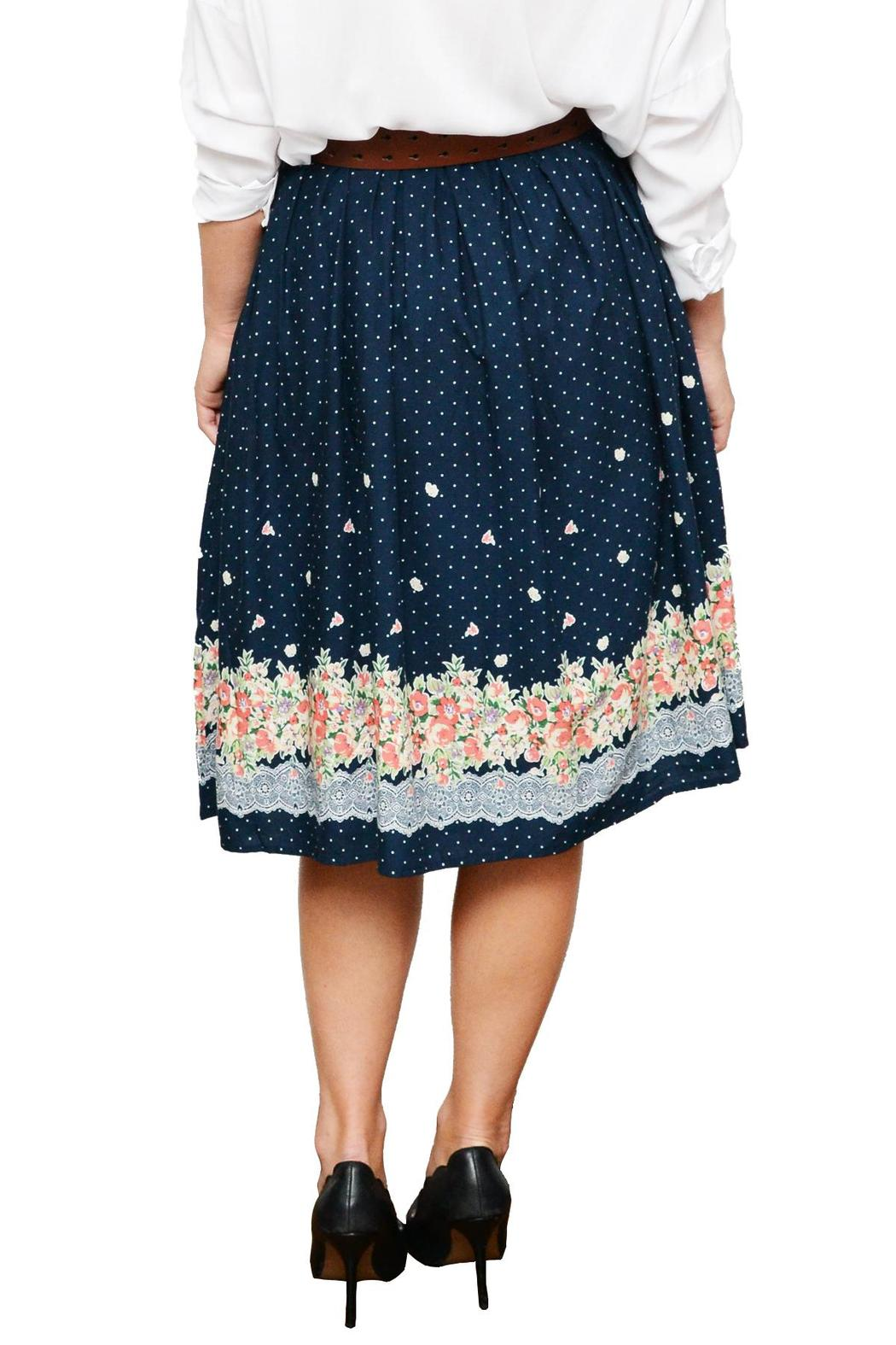Comme Toi Floral Midi Skirt - Back Cropped Image
