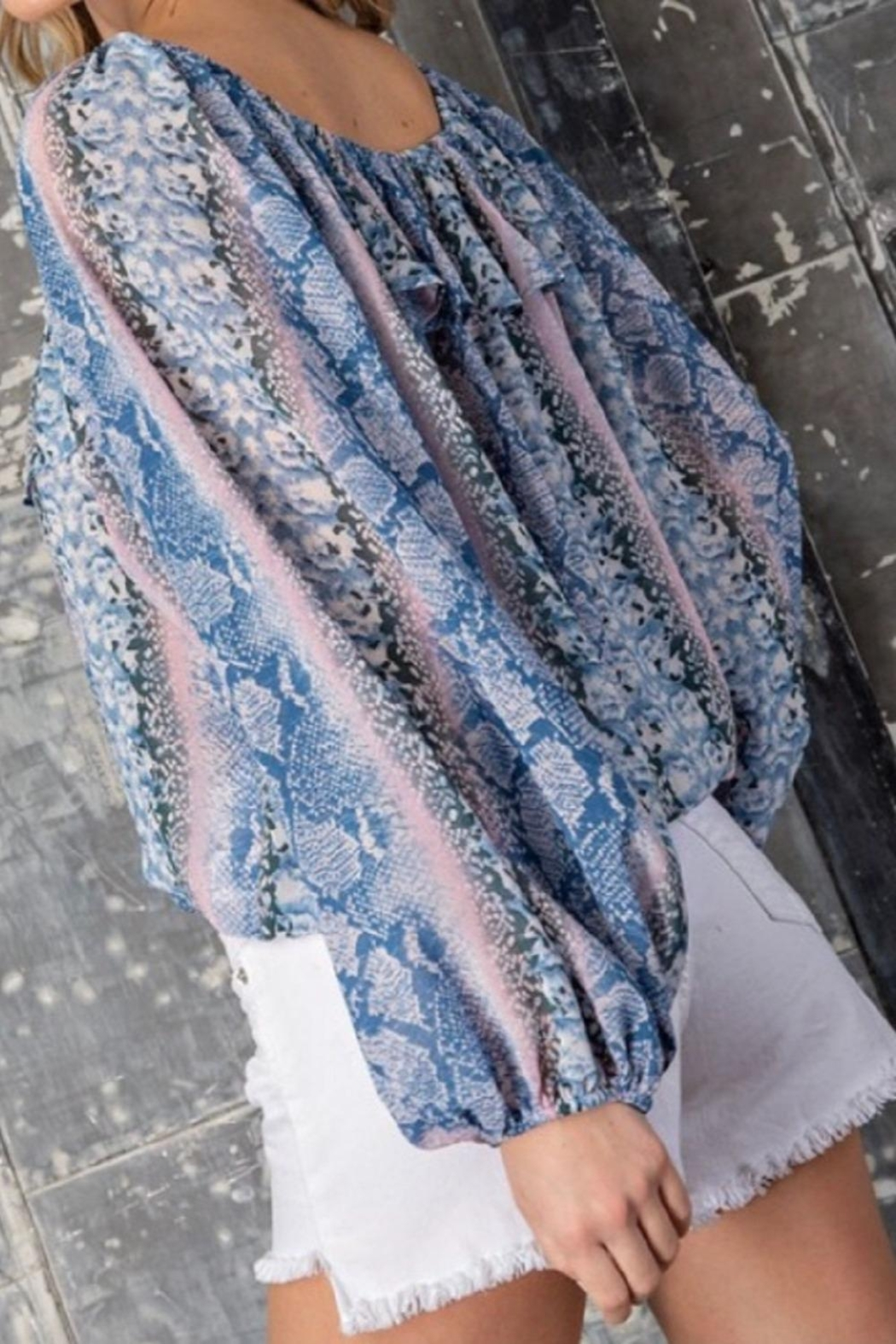 eesome Blue Snakeskin Top - Main Image