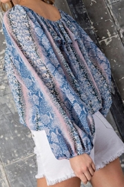 eesome Blue Snakeskin Top - Product Mini Image