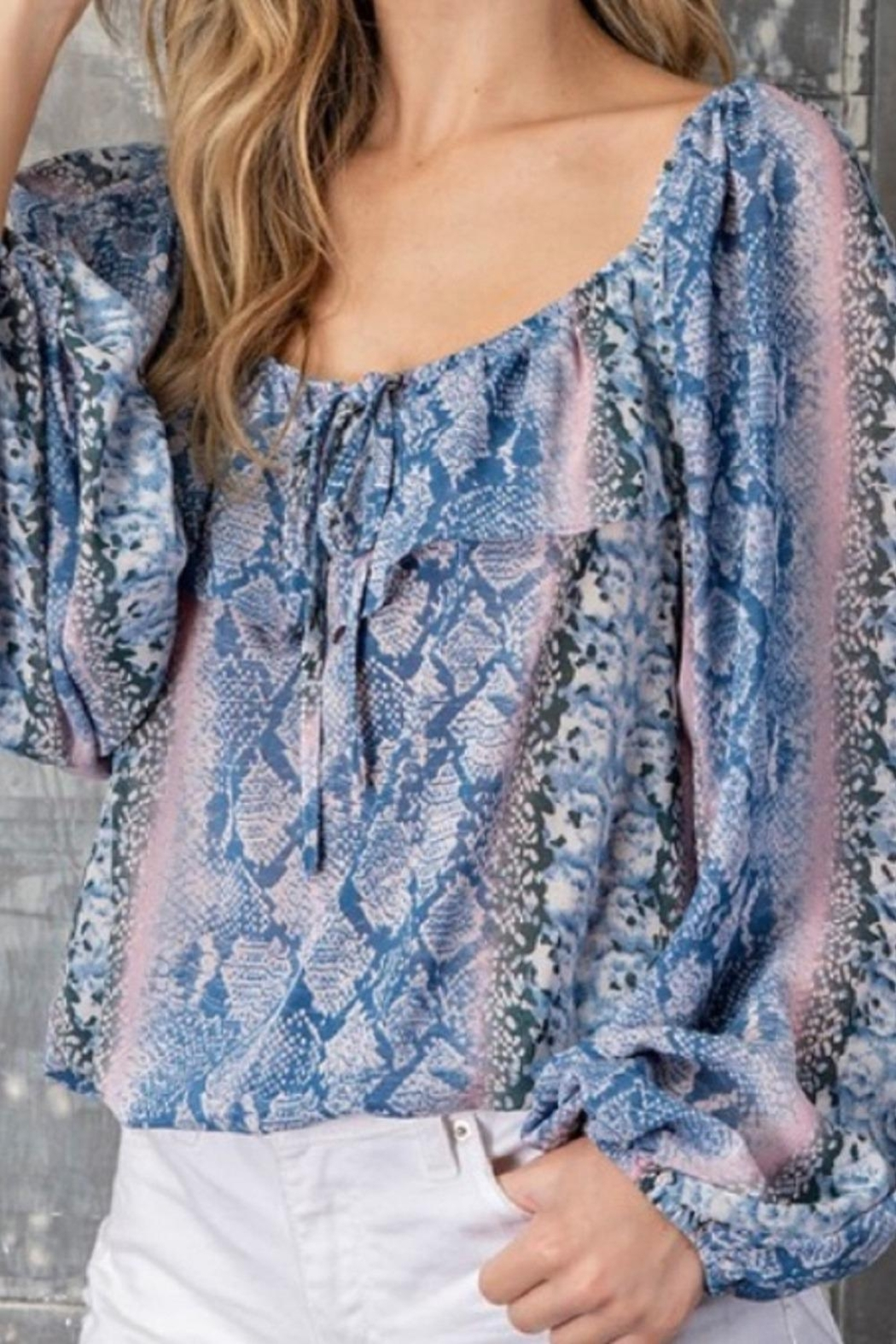 eesome Blue Snakeskin Top - Front Full Image