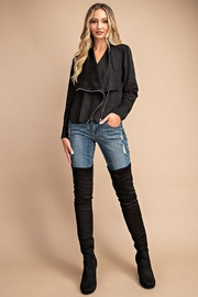 eesome Drape Front Suede-Jacket - Front full body
