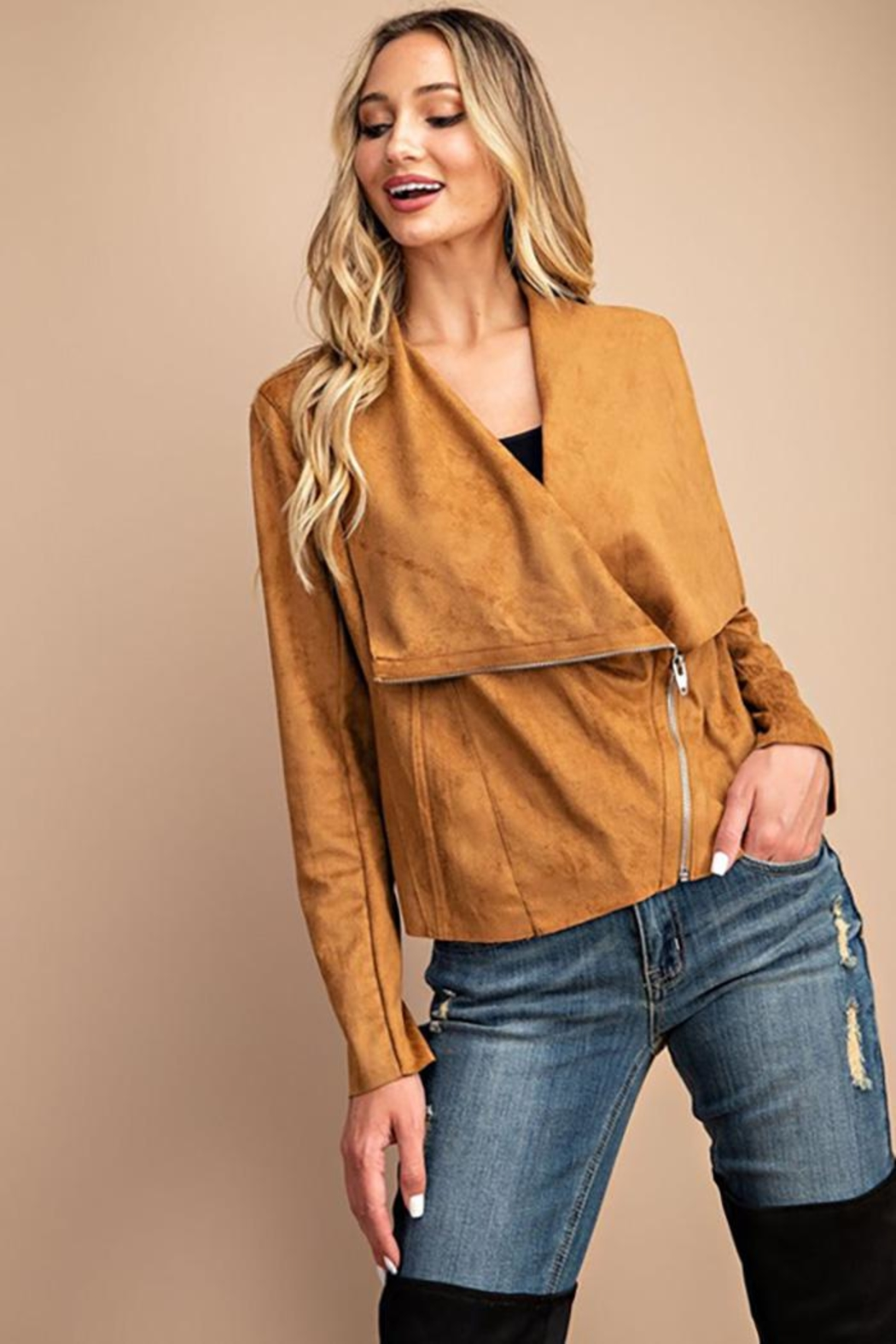 eesome Drape Front Suede-Jacket - Back Cropped Image