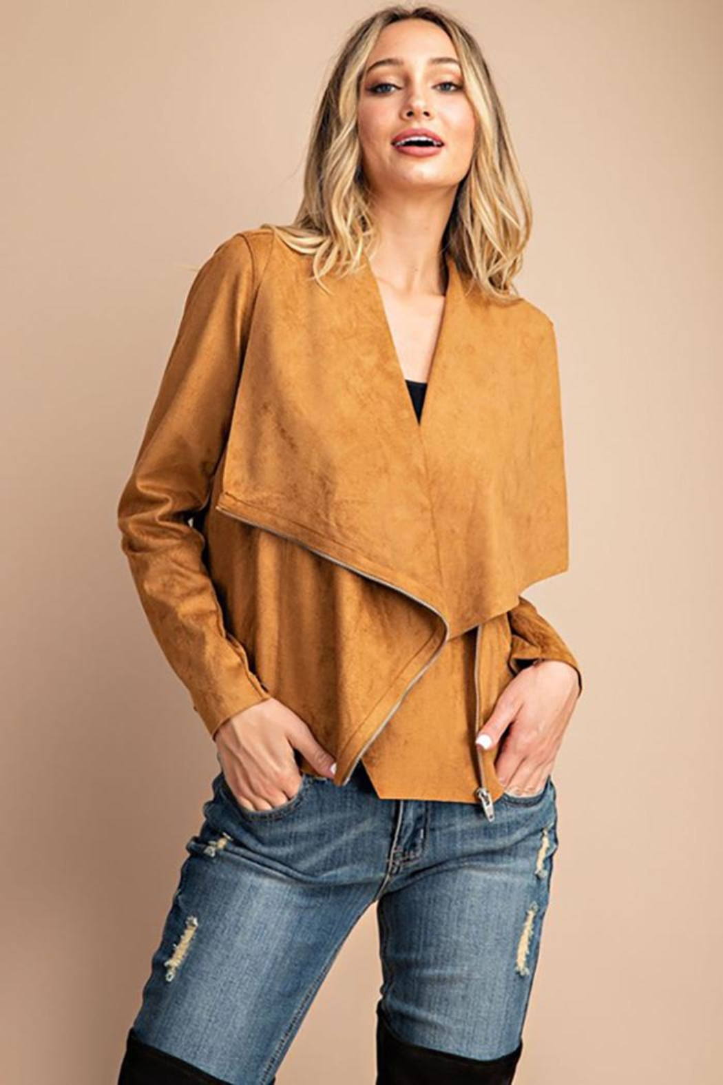 eesome Drape Front Suede-Jacket - Side Cropped Image