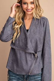 eesome Drape Front Suede-Jacket - Product Mini Image