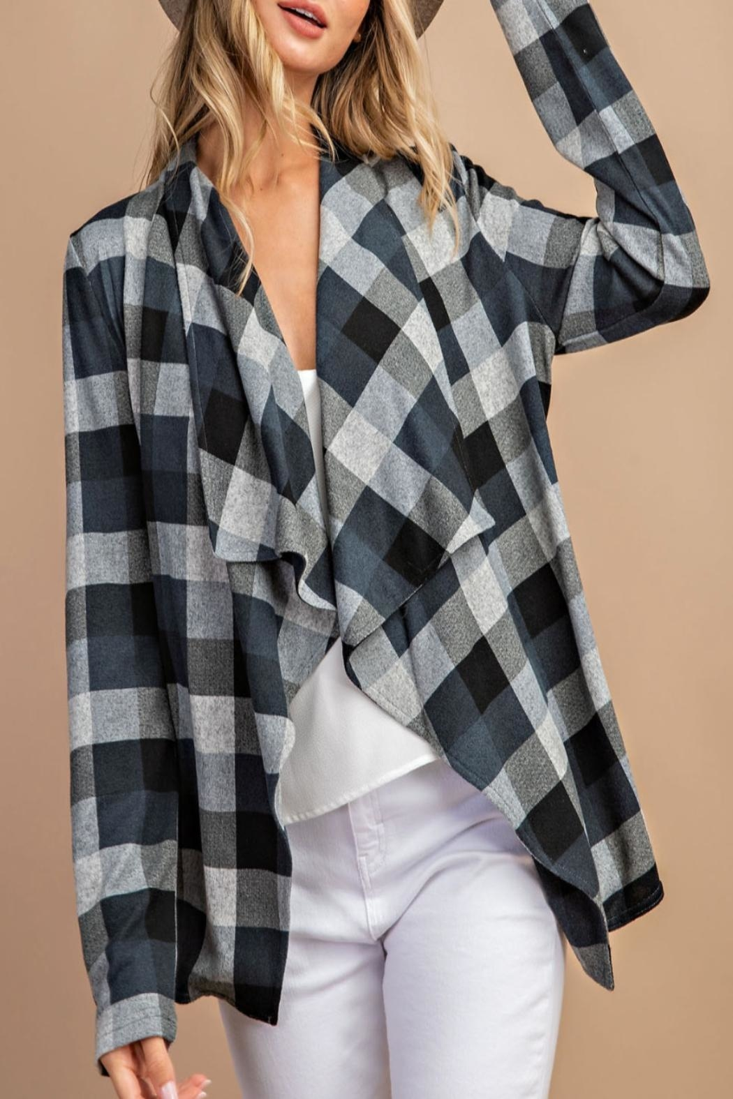 eesome Draped-Front Plaid Cardigan - Main Image