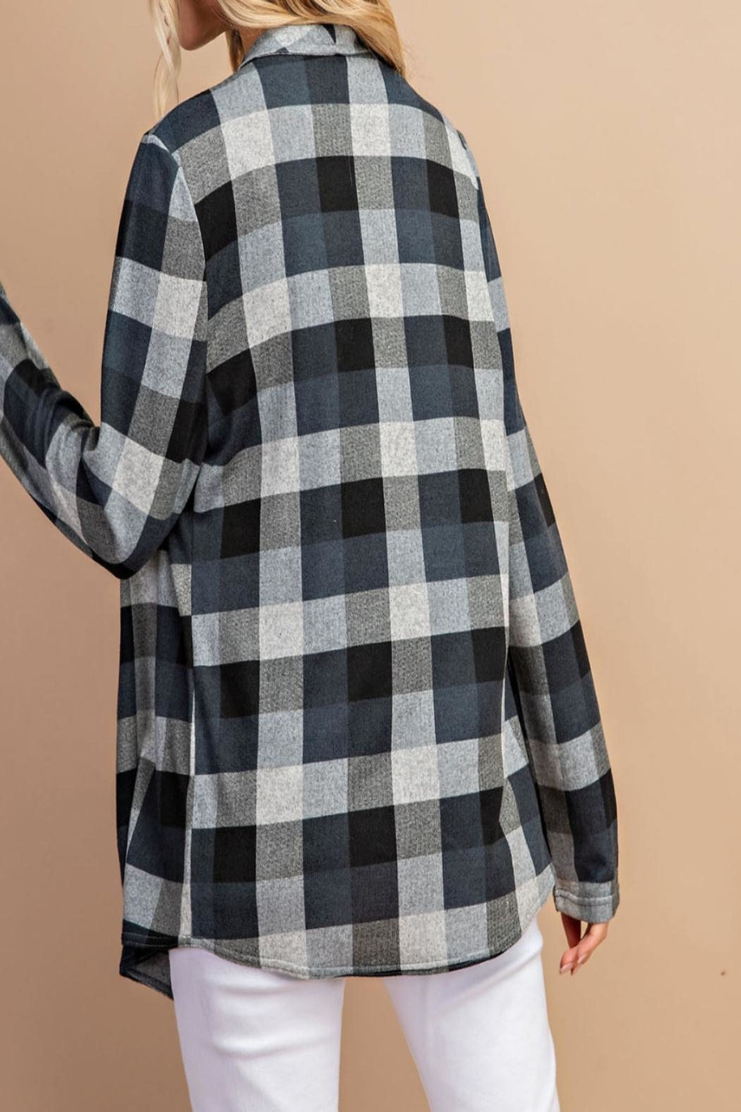 eesome Draped-Front Plaid Cardigan - Front Full Image