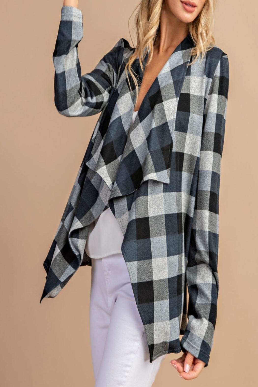 eesome Draped-Front Plaid Cardigan - Back Cropped Image