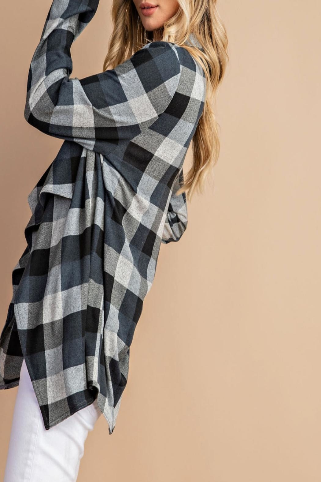 eesome Draped-Front Plaid Cardigan - Side Cropped Image
