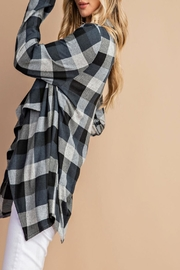 eesome Draped-Front Plaid Cardigan - Side cropped