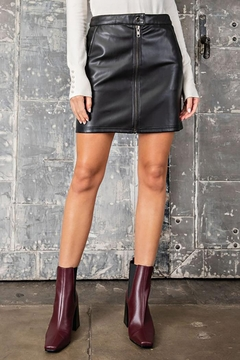 eesome Faux Leather Zipper Mini Skirt - Product List Image