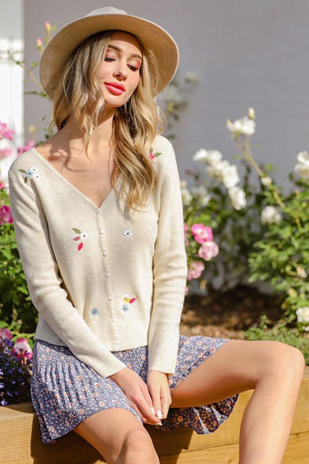 eesome Flower Embroidered Knit Cardigan Top - Front Full Image