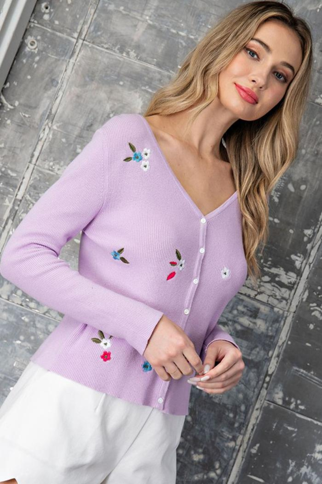 eesome Flower Embroidered Knit Cardigan Top - Front Cropped Image