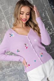 eesome Flower Embroidered Knit Cardigan Top - Side cropped