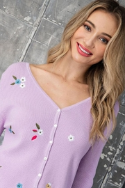 eesome Flower Embroidered Knit Cardigan Top - Back cropped