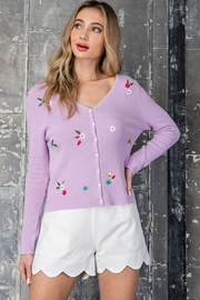 eesome Flower Embroidered Knit Cardigan Top - Front full body