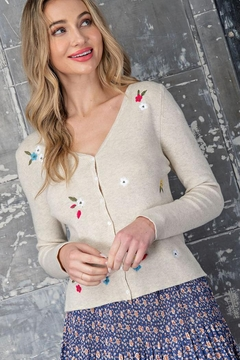 eesome Flower Embroidered Knit Cardigan Top - Alternate List Image