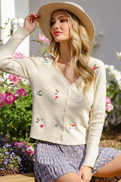 eesome Flower Embroidered Knit Cardigan Top - Product List Image