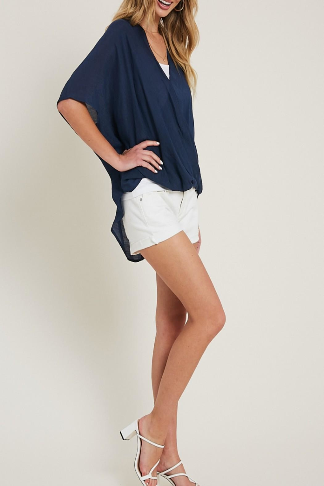 eesome High-Low Surplice Top - Side Cropped Image