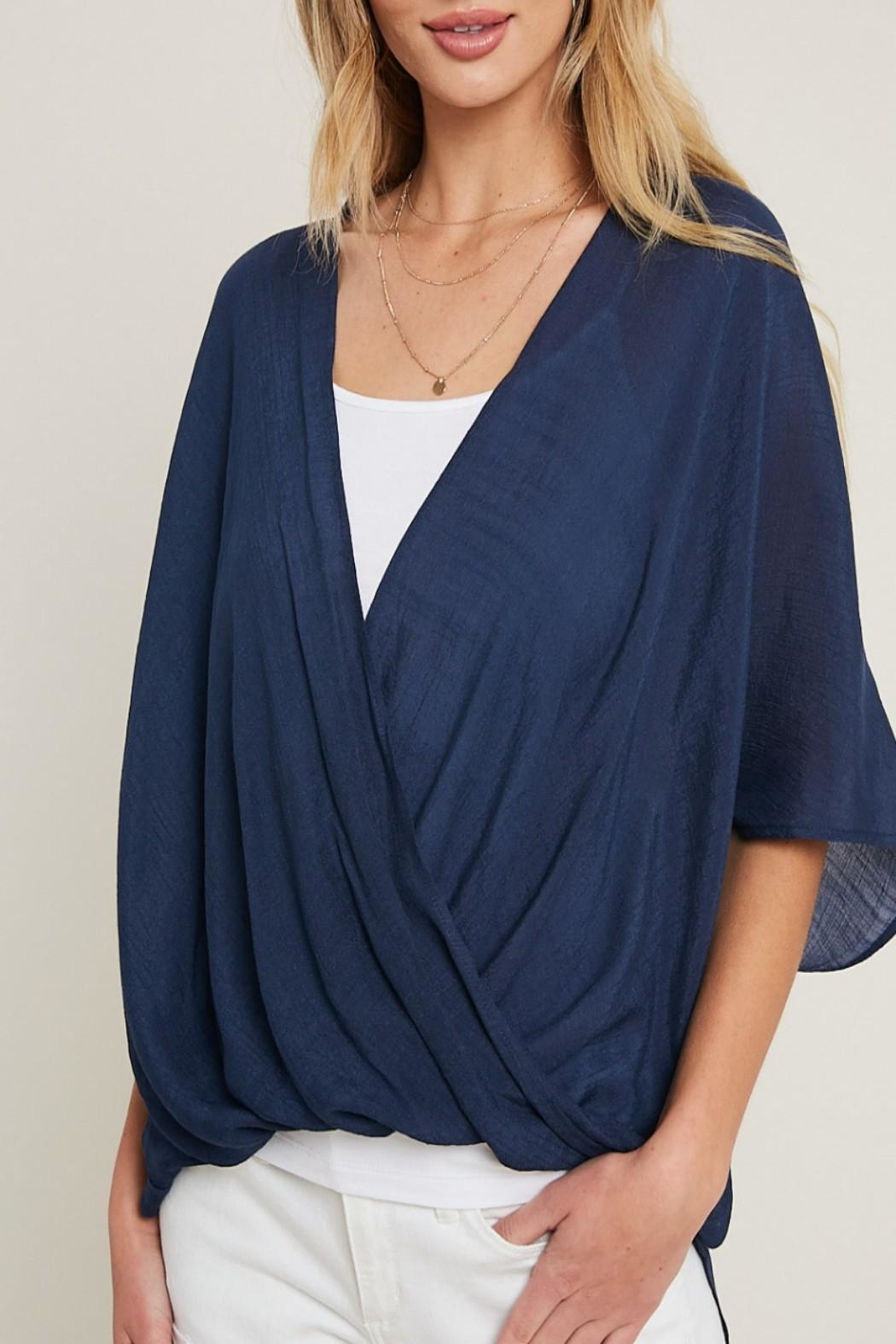 eesome High-Low Surplice Top - Front Full Image