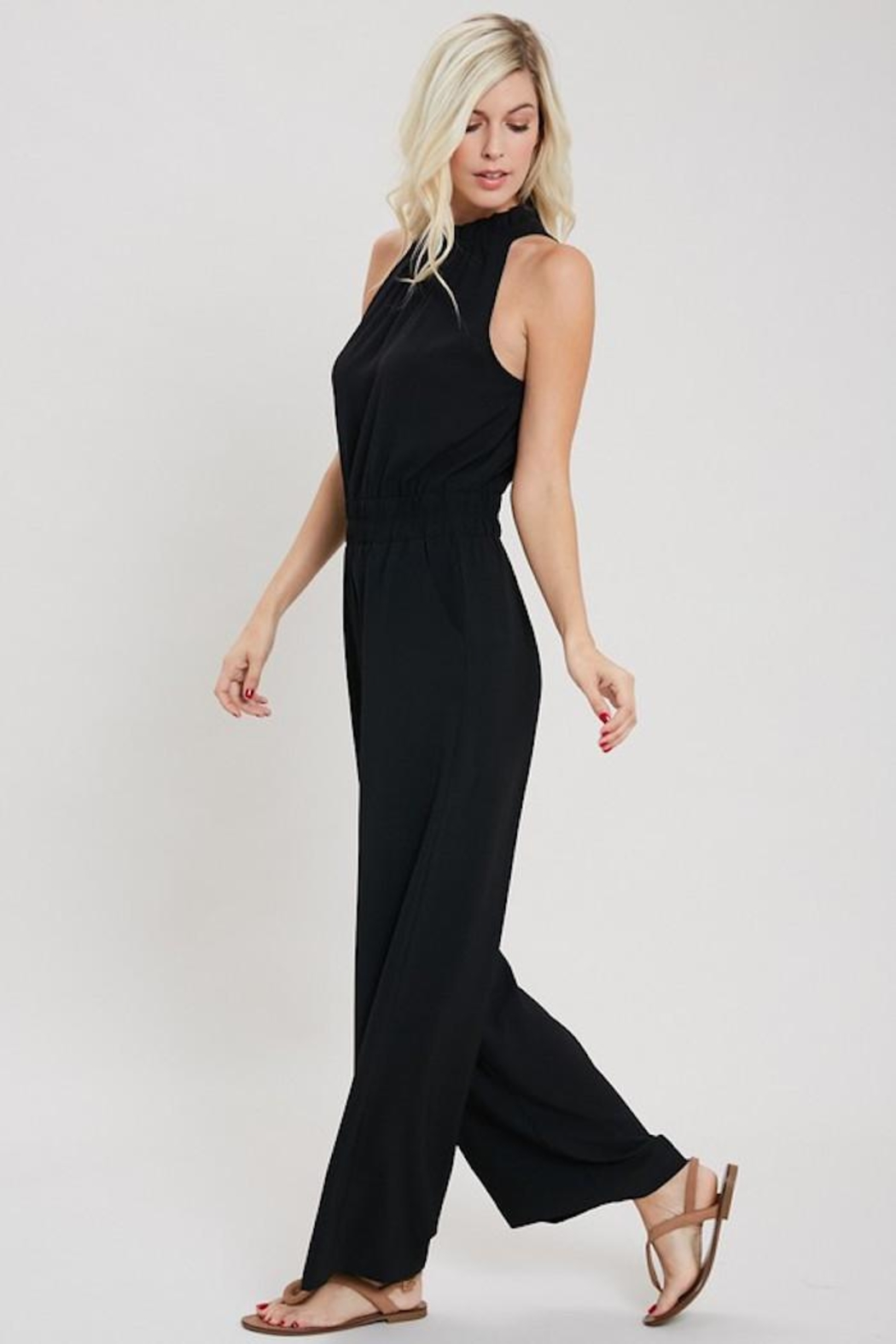 eesome Just Black Jumpsuit - Front Full Image