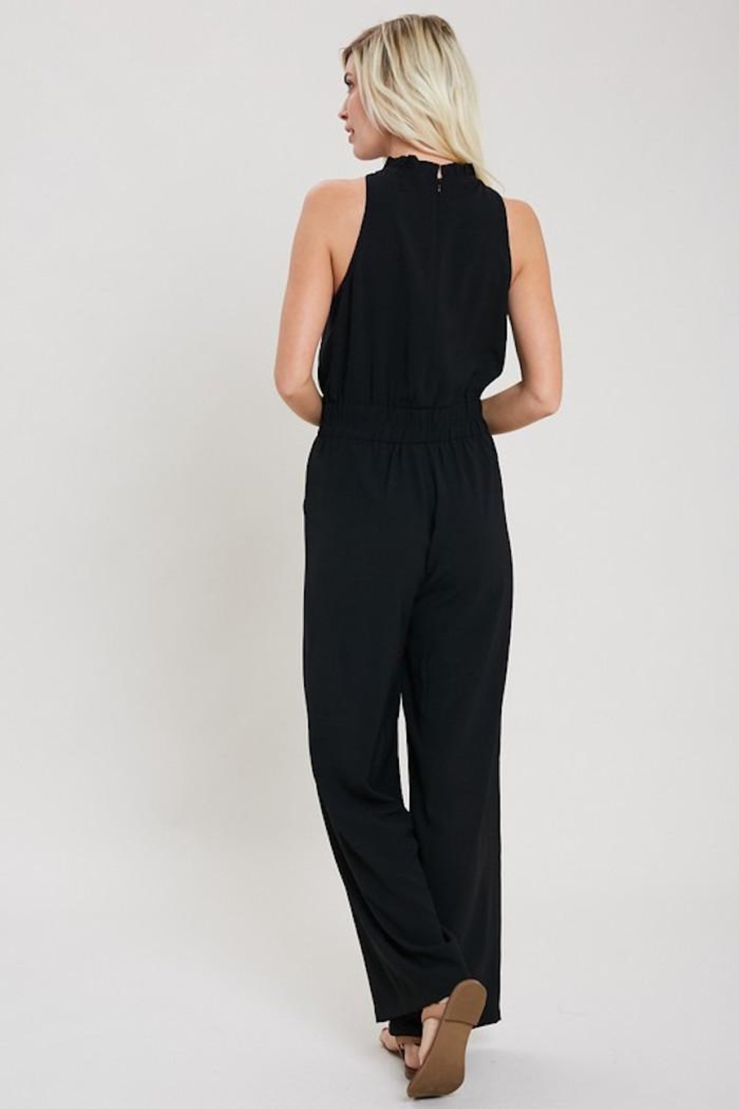 eesome Just Black Jumpsuit - Side Cropped Image