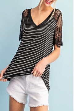 Shoptiques Product: Lace Sleeve Striped Top