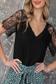 eesome Lace Sleeve Top - Front cropped