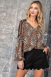 eesome Leopard Print V-Neck Blouse - Product Mini Image