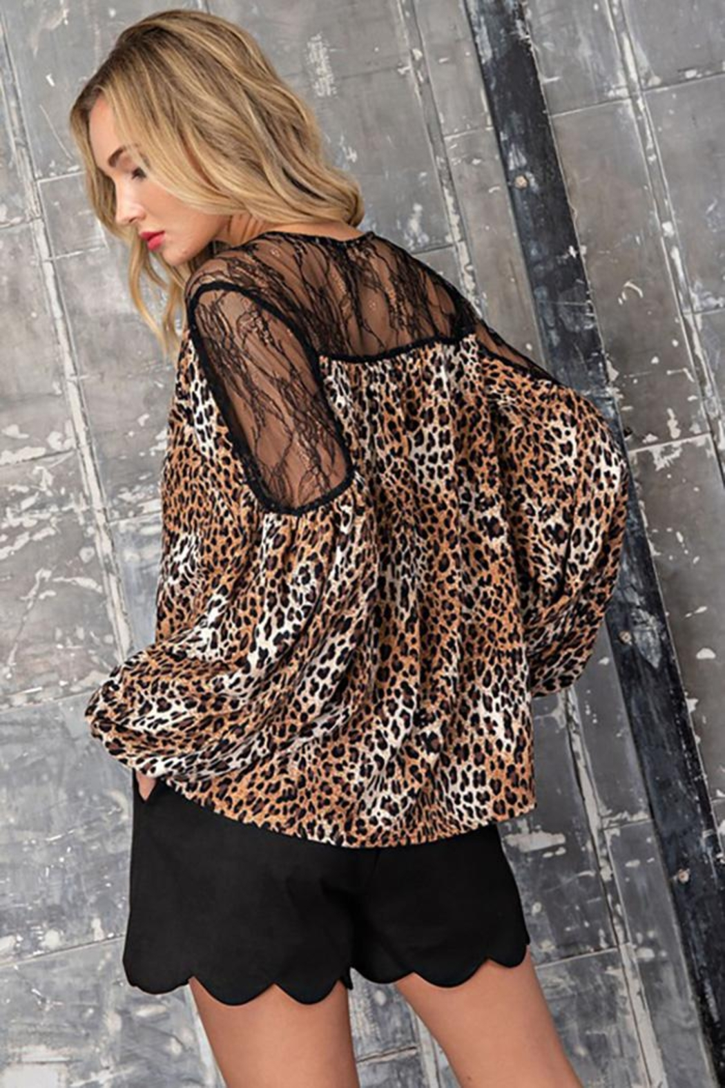 eesome Leopard Print V-Neck Blouse - Front Full Image