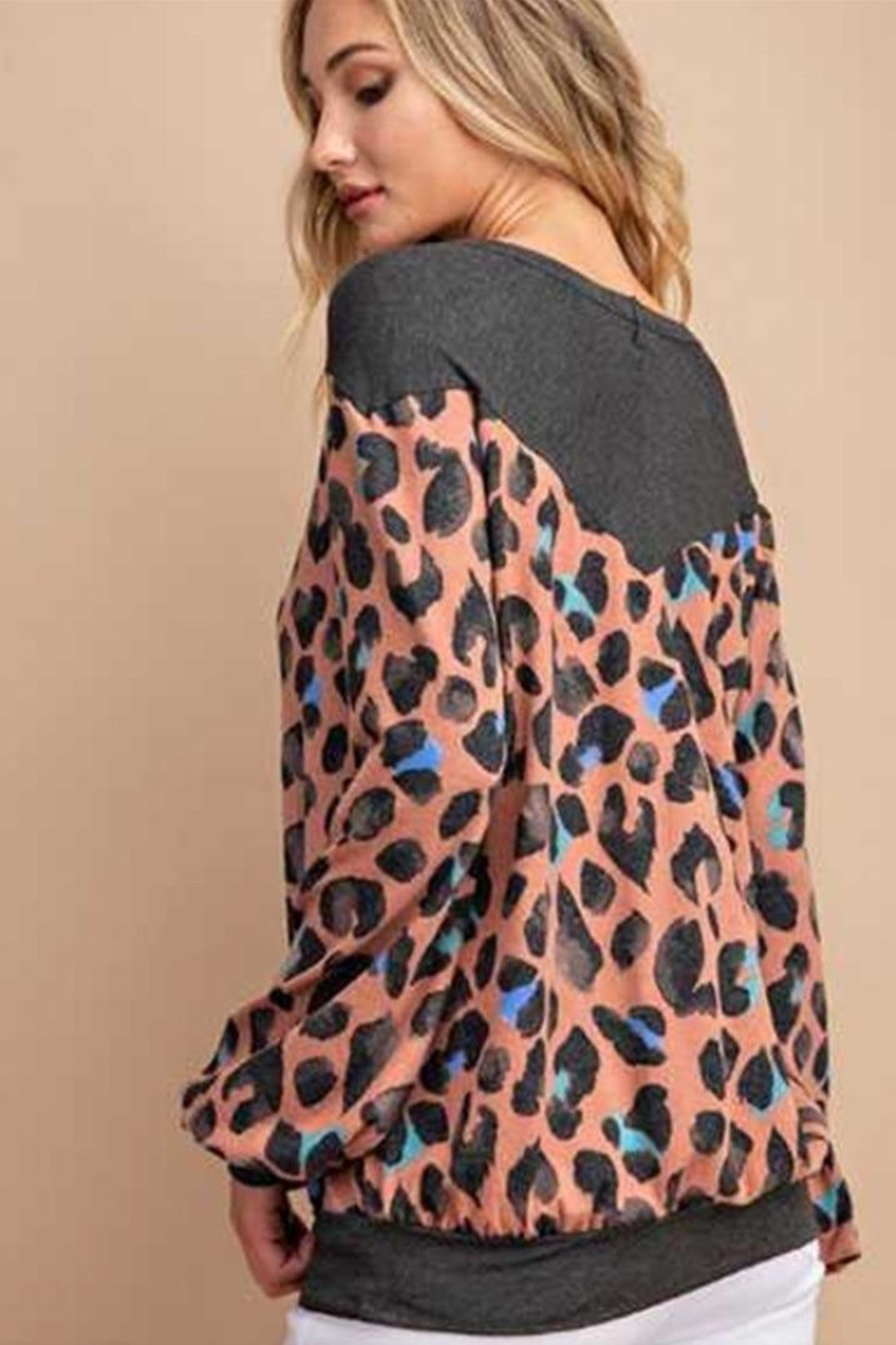 eesome Mauve Leopard Top - Front Full Image