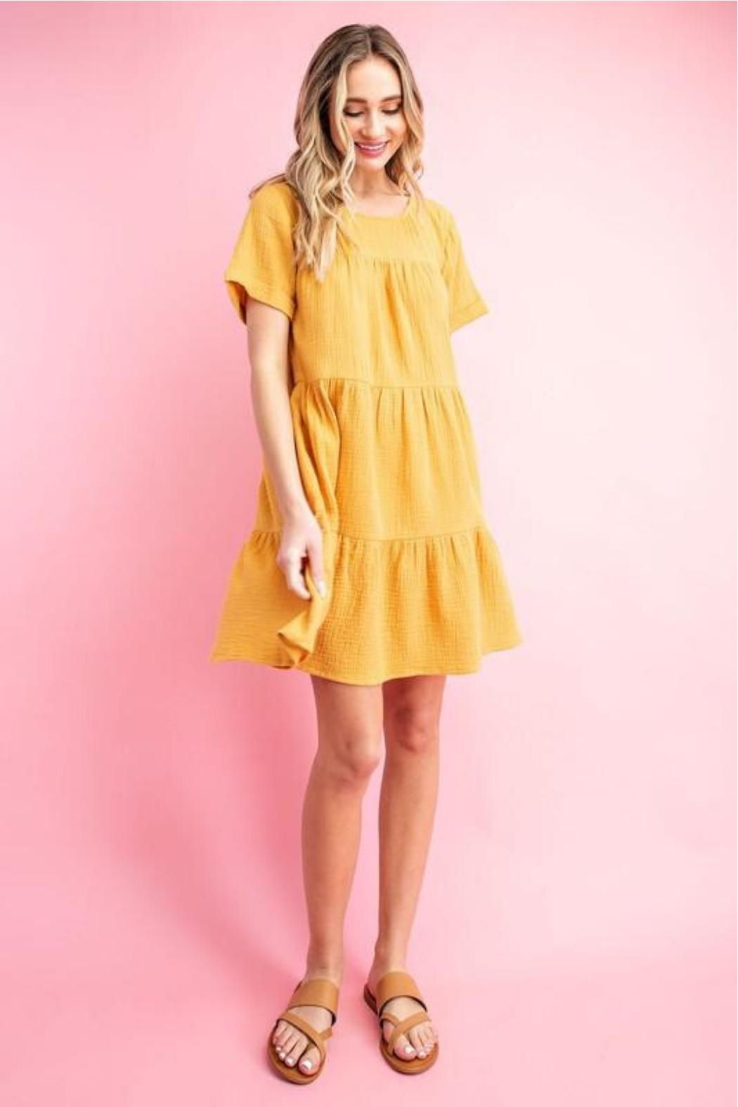 eesome Mustard Babydoll Dress - Side Cropped Image