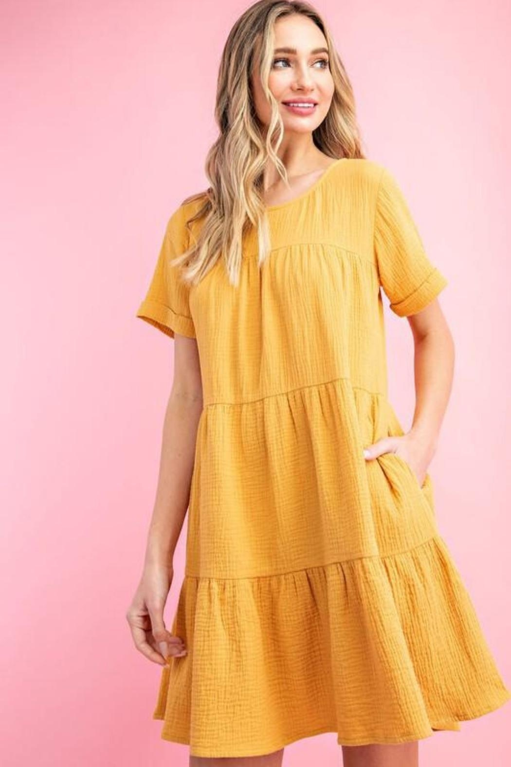 eesome Mustard Babydoll Dress - Main Image