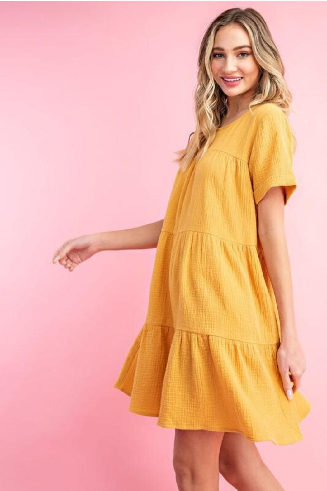 eesome Mustard Babydoll Dress - Front Full Image