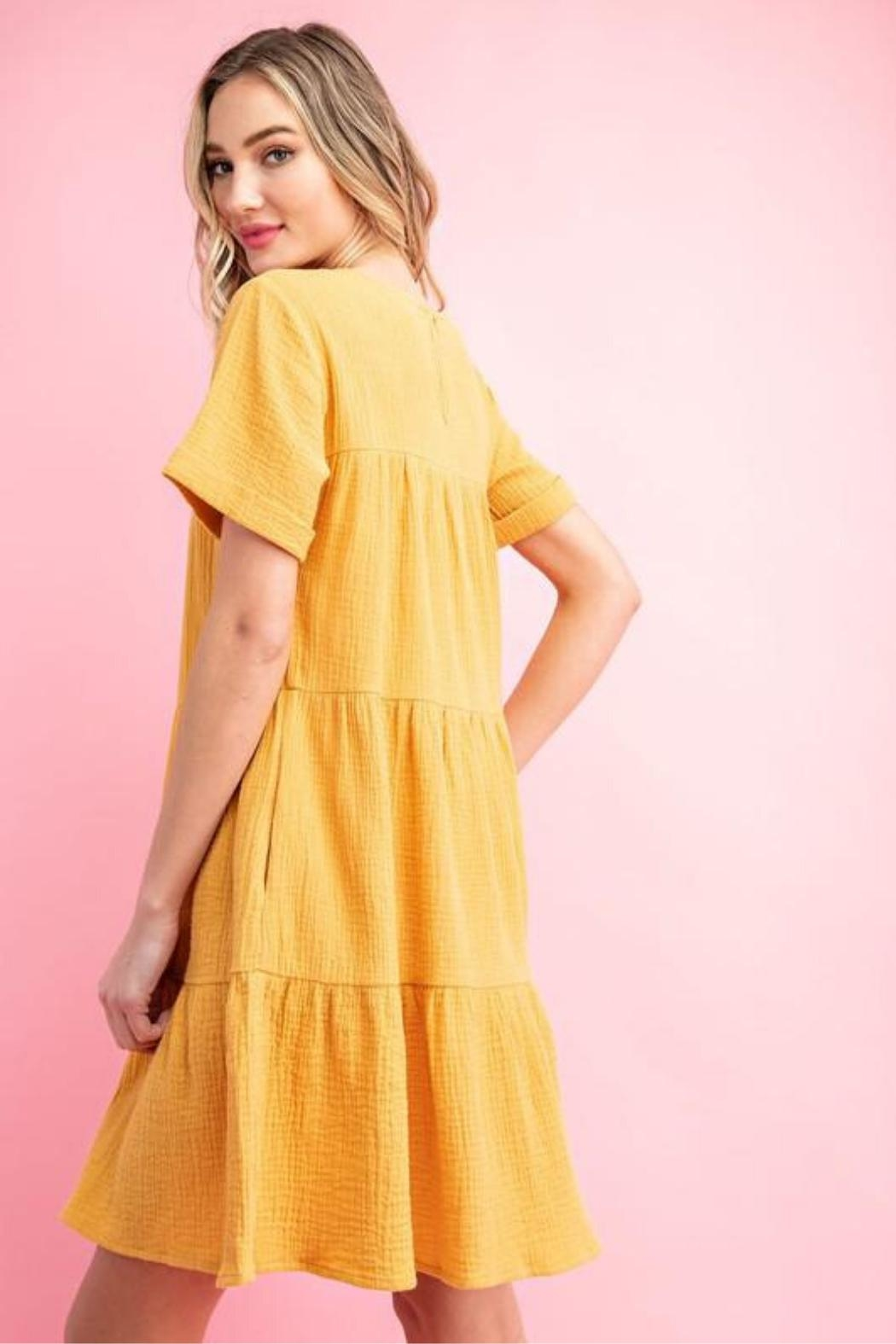 eesome Mustard Babydoll Dress - Back Cropped Image