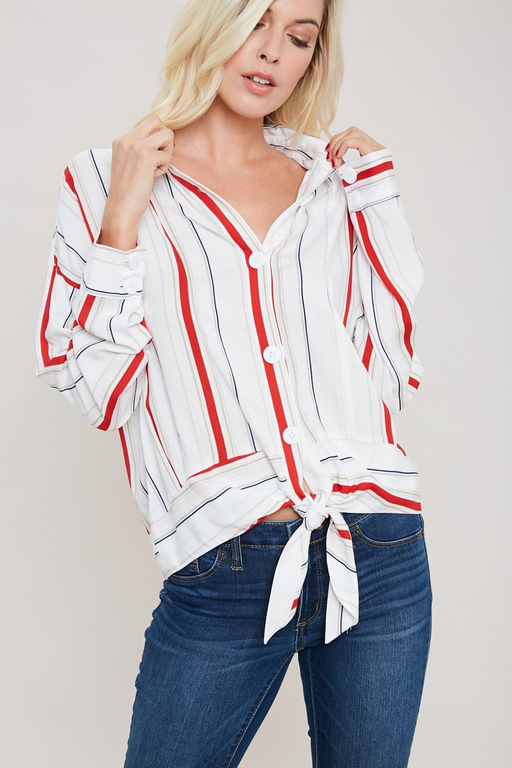 eesome Red And White Button Top - Main Image