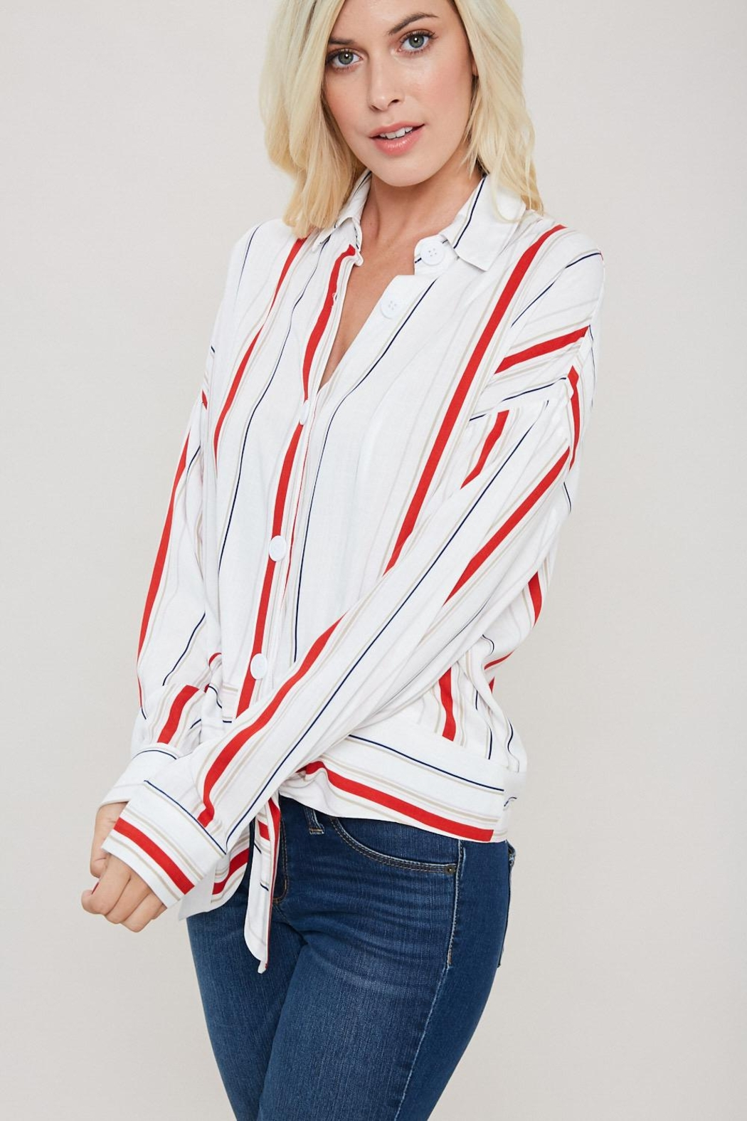 eesome Red And White Button Top - Front Full Image