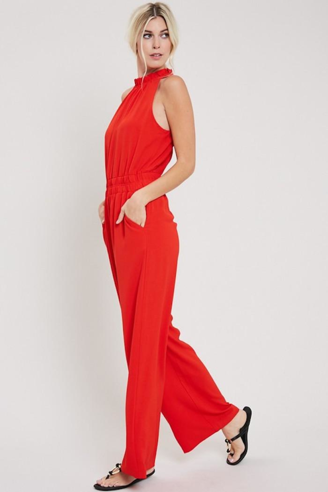 eesome Red Hot Jumpsuit - Side Cropped Image