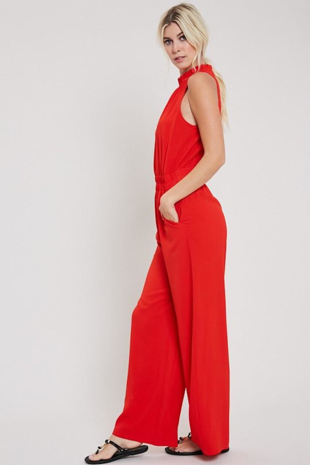 eesome Red Hot Jumpsuit - Back Cropped Image