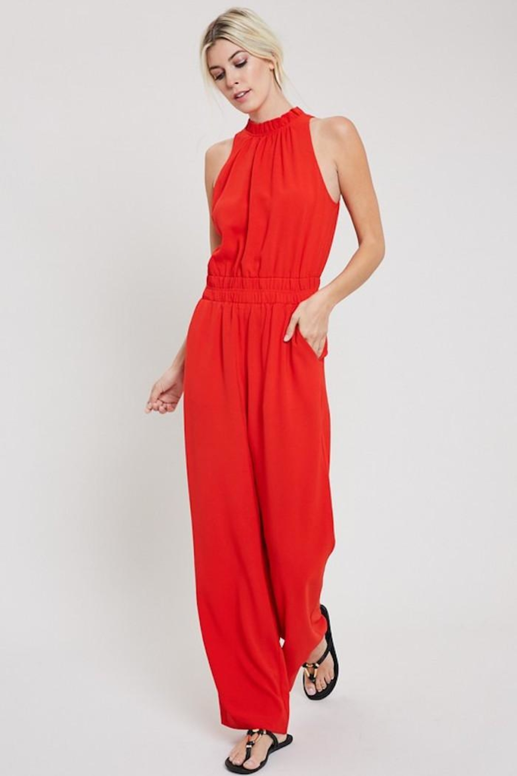 eesome Red Hot Jumpsuit - Front Full Image