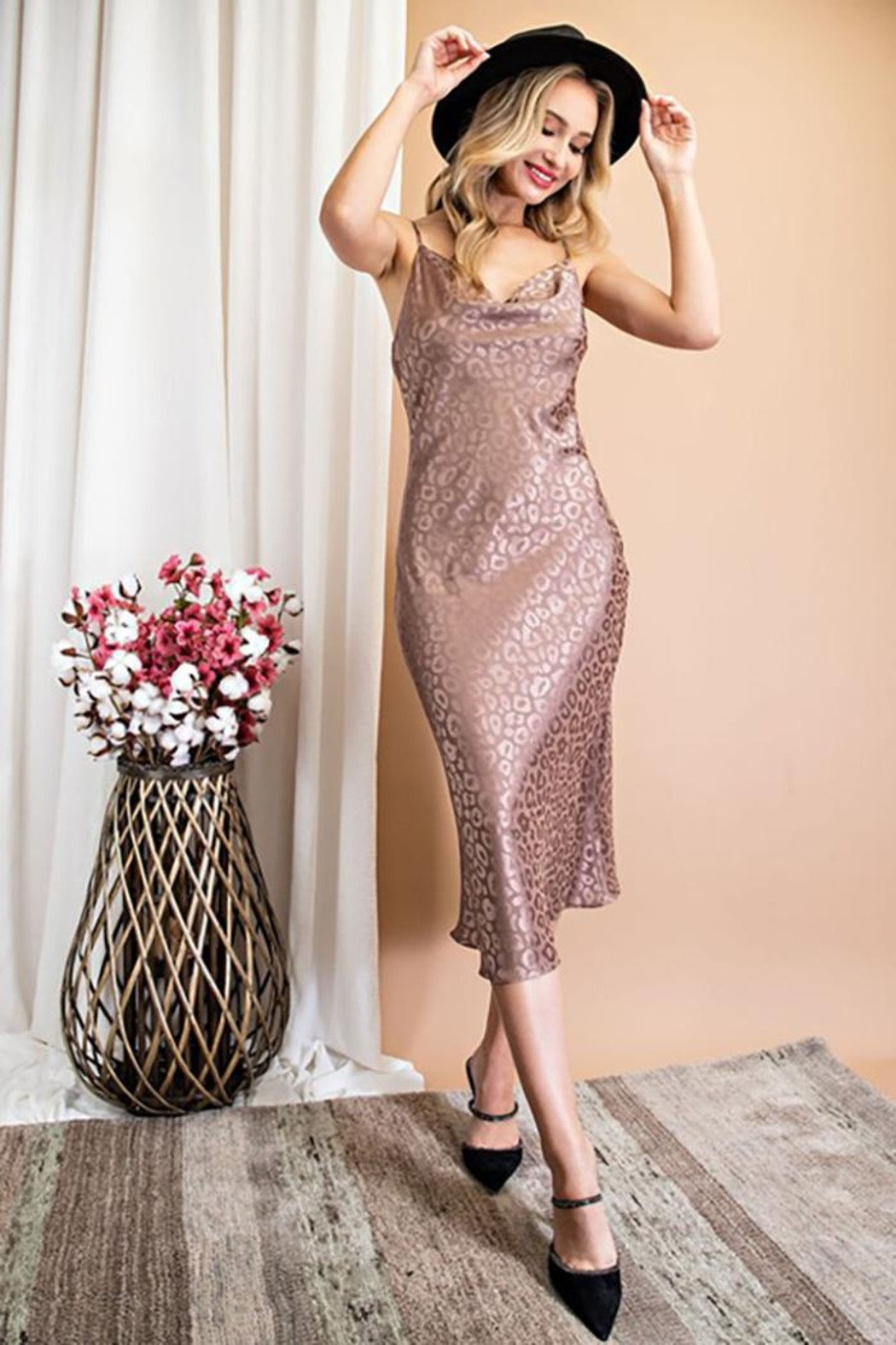 eesome Satin Animal Print Cowl Neck Midi Dress - Front Cropped Image