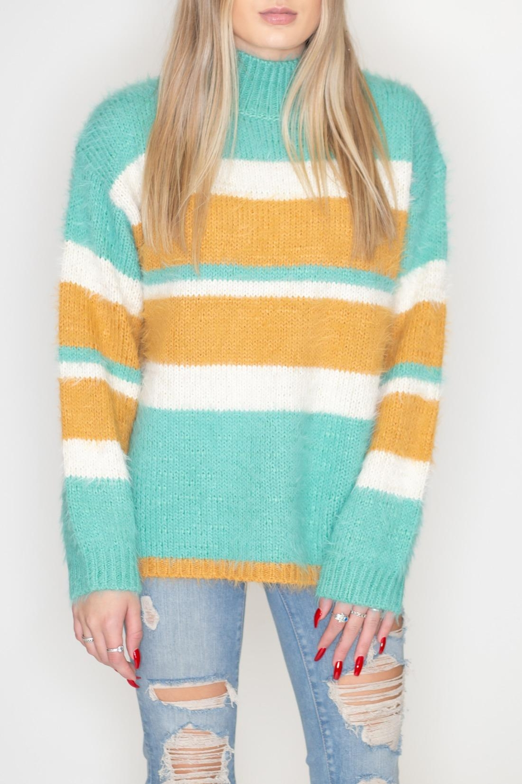 eesome Striped Fuzzy Sweater - Main Image